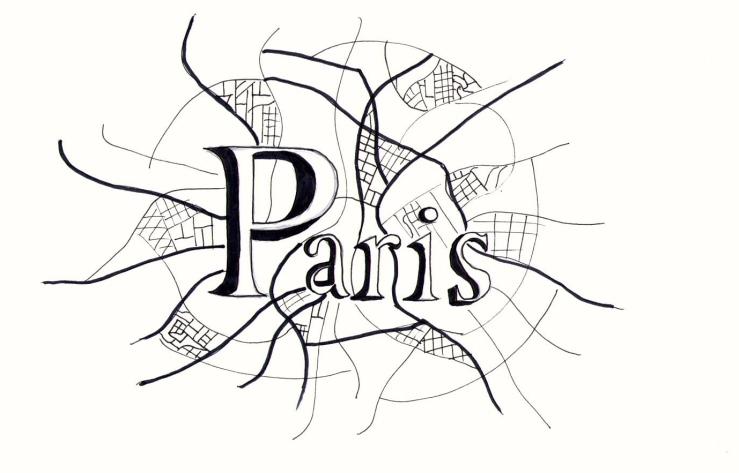 Parijs kaart tekening